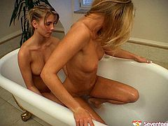 Dazzling girls with gorgeous bodies are filming in a hot Seventeen Video. Slim sexy babes are looking extremely hot in arousing lesbian sex scene bathing in a bathroom. They watch each other while pleasing their pussies with sex toys.