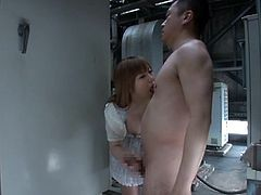 This perfectly hot Japanese babe shows her tits to this dude at his work in the factory. And then, she takes him in her mouth and polishes it so good!