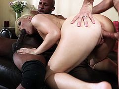 Pretty Ash always wanted to be between men and this time her wish comes true! One is a big, black guy with a big dick for her pretty mouth and the other is a white dude, ready to eat her pussy. She stays on her knees and sucks the black one, while that white guy licks her and then drills her pussy from behind