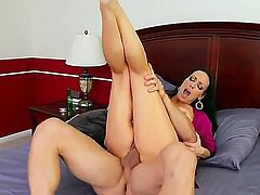 One of a kind brunette milf Vanilla DeVille with big jaw dropping tits and round bouncing ass gives head to young stud Johnny Castle and gets fucked hard in awesome positions.