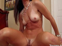 Lovely milf brunette India Summer gets down on her knees in front of her husband as soon as he shows up. She sucks his cock and then takes his love stick up her neatly trimmed wet pussy.