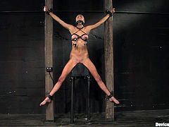 A hot short-haired brunette with nice round titties gets toyed with in this kinky bondage scene, check it out right here!