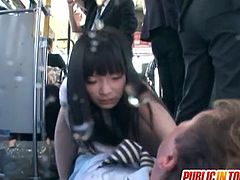 Check out horny japanese teenie getting her holes ravished, while she is on the bus. Multiple random guys decided to fuck her tight pussy!