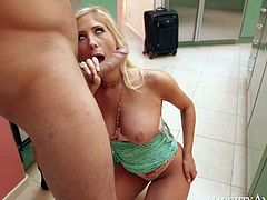 Busty blondie Tasha Reign is his sisters best friend. He meets her in the kitchen at his parents house. He finds her sexy and pulls out his cock to drill her wet pussy. Blonde in tiny panties takes his stiff dick with desire.