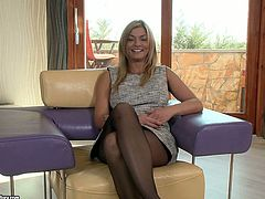 This scorching blonde has come for an interview and she is willing to do whatever it takes to impress her future employer. She gets down on her knees and gives her employer a nice blowjob. She spreads her legs wide to let him fuck her tight asshole in missionary pose. A few positions later she rides him hard like a true cowgirl.