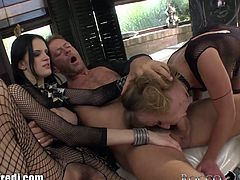"""Most women find international porn superstar Rocco Siffredi to be a total dreamboat, but he's particularly irresistible to cock-crazed cuties that harbor an extra-high sex drive. In """"Slutty Girls Love Rocco 5,"""" the legendary Italian fuck machine and his well-hung pals encounter a bevy of lovely girls who'll never say no to a hard cock. First, the director throws a private three-way party with a couple of slender, fishnet-clad models: hairy-pussied Mia and her blonde girlfriend Michelle."""