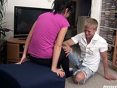 Brunette girl Nikki carries a small tree walking down the street. Blond guy offers her help so the head to her house together. When they are indoor they start kissing passionately so it seems it leads to a dirty sex.