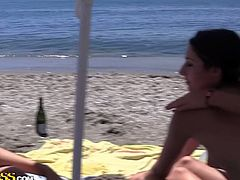 Kinky college girls reveal their wild side on camera as tehy get naked, give head and fuck at the beach in a wild group fuck party that you can't miss.