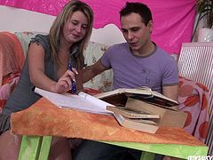 Blond Russian porn slut is going kinky in free porn video presented by My Sexy Kittens. She is seduced by perverted teacher during the lesson. Watch him teasing her body tracing hand all over.
