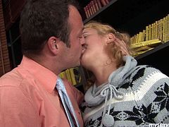 Skanky girl Gloria meets the guy in a suit on a street. He invites her to have fun together. She is lustful girl so she agrees without any hesitation. When they are indoor, mature stud eats her wet pink pussy until she wriggles with joy.