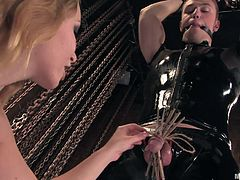 Blonde mistress Aiden is now torturing the thing she loves most: a cock. She tied this dude up and mouth gagged him, and now she takes care of his dick. Aiden ties his dick with rope, adds clothespins and spanks it hard with her whip. Is she going to take it easy and give the guy's penis a kiss for all that punishment?