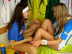 Two teens in sport T-shirts are eager for sex fun after football game. They lift each others T-shirts up and touch each others nipples. Enjoy two kinky lesbians in awesome Seventeen sex tube video for free.