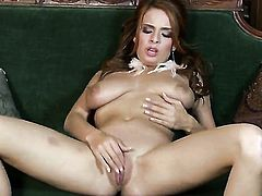 Ashley Graham with massive melons and hairless twat plays with sex toy