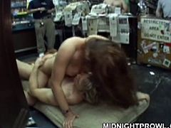 Ruined brunette amateur stands in doggy style in the middle of grocery store while a horny dude pokes her cunt from behind and her mouth is busy giving blowjob to another wanker in sultry MMF sex video by Pornstar.
