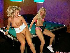Dude, you surely need to see these hot blond teens masturbating in billiard hall. Just press play and enjoy Seventeen Video sex clip. Amazing slender blond heads with sweet tits undress, spread legs on the billiard table and starts rubbing wet teen pussies and polishing tight assholes with sex toys.