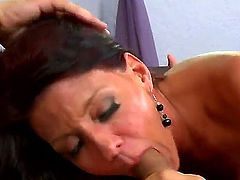 Handsome pal gets unforgettable fellatio from this adorable and so naughty milf first of all. She sucks his penis like a candy before starting to give rodeo on the tool.