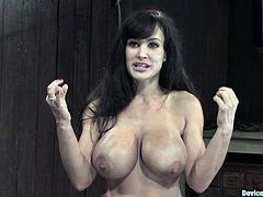 MILF pornstar Lisa Ann getting tits tortured and pussy toyed in BDSM