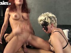 Thirsting for orgasm spoiled blondie and frizzy redhead are ready for tough hot threesome. Spoiled slim bitches with nice boobs are great pros in both riding and sucking a dick in a tough way. Gosh, these too voracious nymphos are surely worth checking out in incredibly hot Fun Movies sex clip, cuz you'll jizz at once.