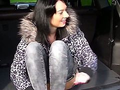 Cute young chick Ella got undressed in her boyfriends car trunk and showed him her pussy and sucked his big dick before getting fucked by him.