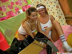 Appealing hotties with sexy slim bodies are wearing black leather jackboot. They both strip to have hot teen lesbian sex on a bed. So watch the titillating one another's firm nipples and also pussy licking each other.
