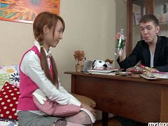 Shy redhead teen student is studying at home with tutor. She flirts with him seducing for passionate sexxx instead of studying. Perverted guy takes off pink top loosening buttons on her shirt. He kisses her sensually while stripping.