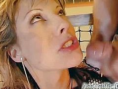 Two guys do her ass in really well just before she gets a boatload of cum shot at her face