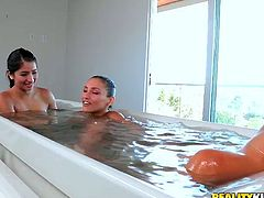 Gosh, dude, you'll be a dull one if you pass by this incredibly hot Reality Kings sex clip. Wondrous slender and long legged brunette lesbians take a hot bath. They're surely horny and desire to spoon and lick each other's juicy pussies right in the water.