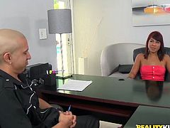 Dude, you'd better check out Reality Kings sex clip to see how spoiled and voracious kinky ebony secretaries can be. Whorish slim and almost titless brunette ebony nympho strips to seduce her boss. She spreads legs wide on the table and rubs clit passionately.