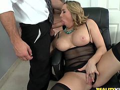 Horn-mad blondie in black stuff and stockings win a chance to give a blowjob