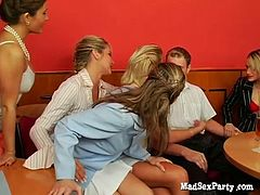 This breathtaking hen-party goes out of control as soon as one of the girls starts sucking a stripper's cock. Soon others join and this turns into a mind-blowing gangbang party.