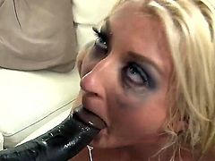 Hot ass cheating cuckold blonde Leya Falcon with big tits and cheep make up gets her shaved minge drilled deep by tall black bull Wesly Pipes in front of her hubby.