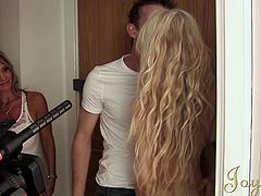 Michelle Moist and Aleena Jonez invite Danny into their bedroom. The two blonde British ladies have their way with him. Michelle gets her pussy eaten by her new male friend and then she sucks his penis while Aleena watches.
