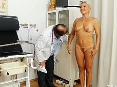 Sextractive blond MILF Ellen with curvy body is getting examined by perverted doctor