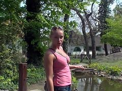 Arousing and sexy ass blonde pornstar babe Kathia Nobili spends her day in the zoo, feeding all the animals and exposing her sexy curved body in tight jeans and t-shirt