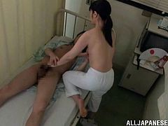 As nursing is a hard job, nurses like to have some fun with their patients. The same goes here as a Japanese milf with pointy nipples is sucking her patient's cock with pleasure. Then she makes him suck those nipples, and after a good pounding she is getting ready to ride that huge dick.