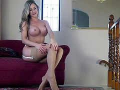 Sammi Tye is a long legged stacked babe in sheer stockings. She takes off her white bra and panties before she touches her pink wet pussy with her fingers. Watch sexy Sammi Tye masturbate.