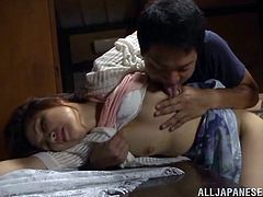 Lewd mature Japanese slut Yurie Matsushi is playing dirty games with two guys. She lets them play with her snatch and admires them with her astonishing cock-sucking skills.