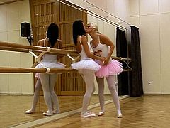 These are kinky ballerinas with slim sexy bodies. They both have got adorable cute appeal. Watch them going kinky in a dance room starting hot lesbo sex.