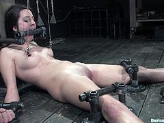 This girl's shaved pussy is going to be toyed and she won't be able to resist as she's also going through bondage and domination!