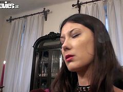 Gorgeous mistress in leather outfit Sarah Dark makes two guys to please her pussy and anus. Enjoy hot femdom sex tube video produced by Fun Movies porn site.