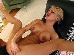 See two hot lesbian blondes fisting and dildoing each other clams into superb orgasms. Double vaginal fisting is definitely out of this world!