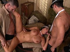 Horny men and lusty woman are playing kinky retro cosplay. The scene is overall looks hot and sexy. Watch slutty bitch with big boobs sucking two solid cocks one by one. Awesome DDF Network cosplay porn video.