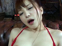 Alluring Japanese cutie Maomi Nagasawa gets aroused with vibrator