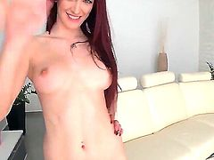 Young tall redhead babe Mira Sunset with natural bobs and long legs in fishnet stocking only gets pink hairless honey pot boned deep by horny lover in living room.