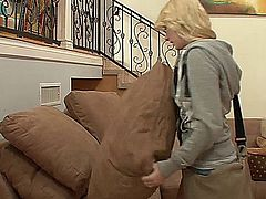 Elaina Raye is a beautiful blonde in need of some cash. She goes to her next door neighbors house looking for small, quick sale items to steel, but gets caught in the act and offers to do anything not to be exposed.  The homeowner decides to start with a blowjob and whips out his cock.  After stripping, his dick is in her vagina, as she takes it from every position he wants, until he ends up, cock in hand, drizzling cum on her chest and having her clean the head with her mouth.
