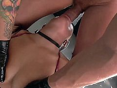 Bitch from Asia London Keyes has wild anal pounding with perverted big cock pal Nacho Vidal. She sits on chair while his shlong is entering her butt before giving deep throat.
