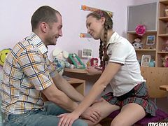 She is slutty Russian girl with petite body shape and pretty mouth lips. She seduces her tutor at home sucking his hard white dick deepthroat. She is looks straight up blowing solid prick sitting down on her knees. Free teen porn video on the best free porn site Anysex.
