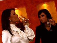 Two provocative lesbians are eager for each others juice. One start to fondle another one and finger fucks her pussy. enjoy two lesbians for free in erotic Tainster video.