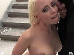 So this amazing blond babe gets down on that hard cock and Maestro sprays her face and tits with his piss. He had a lot of water that day!