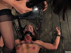 A chick is let out of her tiny cage only to be tied up with chains and have clamps on her body in this hot bondage scene!